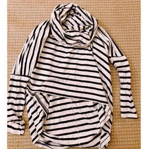 Sabo skirt striped high low turtle neck sweater